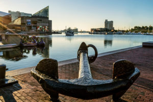 BALTIMORE, MARYLAND-SEPTEMBER 27-A large old anchor along the waterfront of the Inner Harbor on September 27 2014 in Baltimore Maryland. The Inner Harbor is a popular tourist destination.